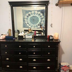 Black large dresser with mirror